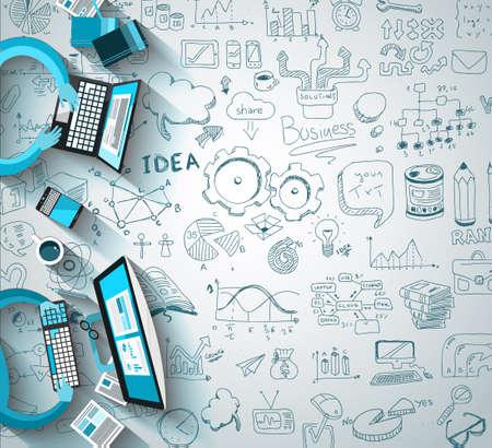 lluvia de ideas: Infograf�a Trabajo en equipo con garabatos negocio fondo Sketch: infograf�as elementos vectoriales aislados,. Se incluye un mont�n de iconos incluidos gr�ficos, estad�sticas, dispositivos, ordenadores port�tiles, las nubes, los conceptos y as� sucesivamente.