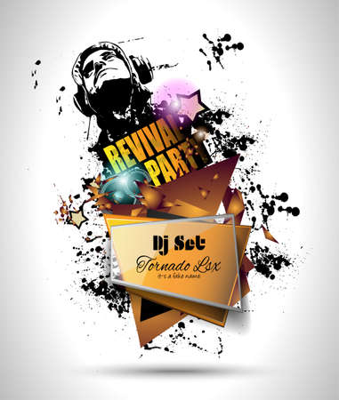 club dj: Disco Night Club Flyer layout with DJ shape and music themed elements to use for Event Poster, Club advertisement, Night Contest promotions and Invitations.