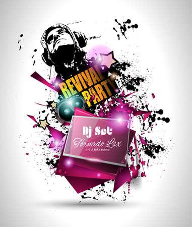 party dj: Diseño Disco Night Club Flyer con forma de DJ y música elementos temática de usar para Póster, Club de publicidad, promociones del Concurso La noche y las invitaciones.