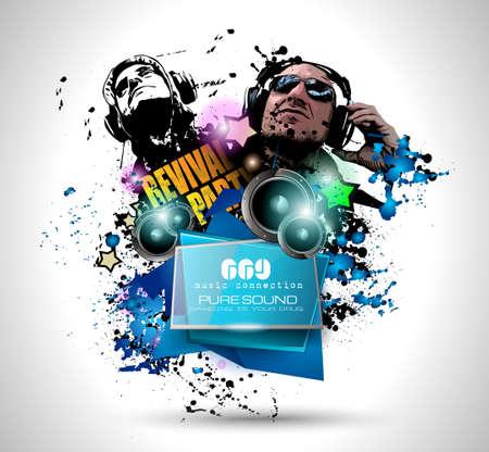 Disco-Nachtclub Flyer-Layout mit DJ Form und Musik-Themen-Elemente für Event Poster, Club-Anzeige, Nacht Contest Aktionen und Einladungen zu verwenden.