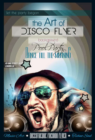 dj: Disco Night Club Flyer layout with DJ shape and music themed elements to use for Event Poster, Club advertisement, Night Contest promotions and Invitations.