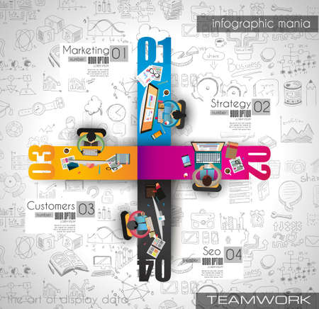 marketing team: Infographics Teamwork with Business doodles Sketch background: infographics vector elements isolated, . It include lots of icons included graphs, stats, devices,laptops, clouds, concepts and so on.