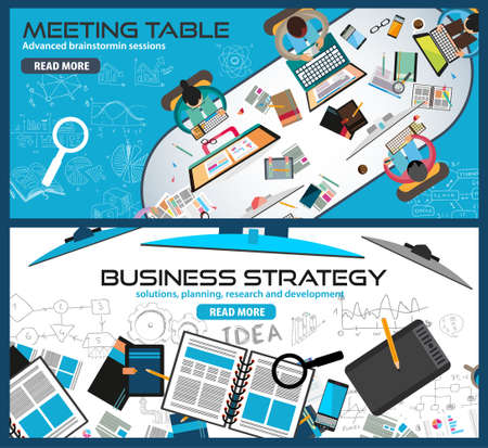 hands solution: Flat Style Design Concepts for business strategy, finance, brainstorming, management, human resources, recruitment,meeting table, staff training.Ideal for printed material or web banners.