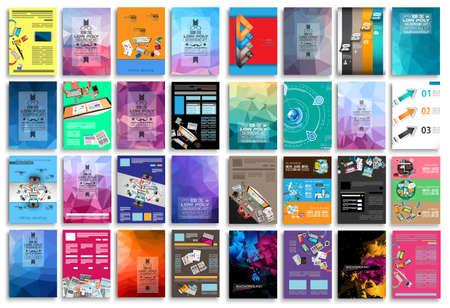 Set van Flyers, achtergrond, infographics, lage veelhoek achtergronden, teamwok concepten en ga zo maar door. 16 stuks met verschillende stijlen en kleuren. Stock Illustratie