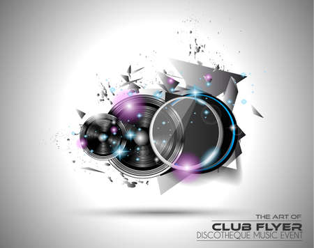 Modern Club Disco Flyer Art for Music Event backgrounds, posters, brochure, backgrounds, pages, covers, and so on. Vectores
