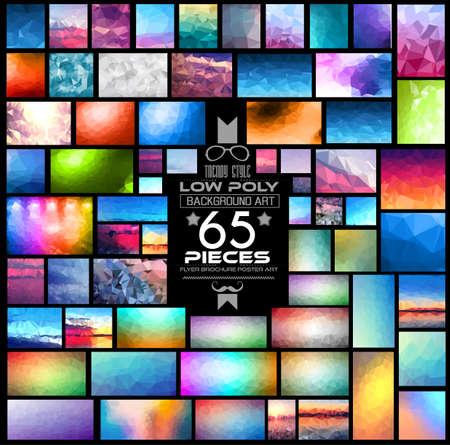Mega Pack di Basso, Sfondi poligonali: 65 pezzi inclusi. Un sacco di diverse forme, stili e combinazioni di colori. Ideale per opuscoli stampati, carte da parati di pubblicità digitale o sfondi flyer.