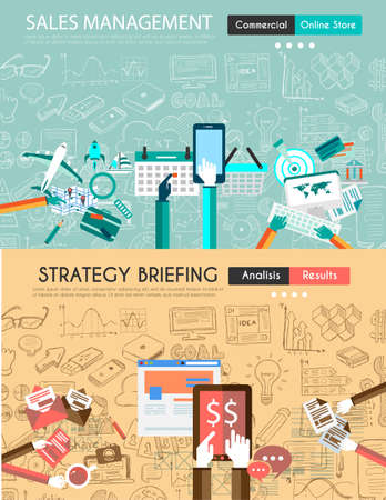 web: Flat Style Design Concepts for business strategy finance brainstorming management human resources recruitmentmeeting table staff training.Ideal for printed material or web banners.
