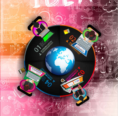 training computer: Flat Style Design Concepts for business strategy and career. Ideal for corporate brochures, flyers, digital marketing, product or idea presentations, web banners and so on .