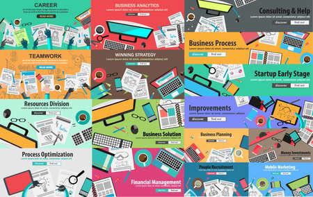 cv: MEGA PACK de Conceptos Estilo Diseño Piso en la estrategia de negocio y su carrera. Ideal para folletos corporativos, folletos, marketing digital, presentaciones de producto o idea, banderas de la tela y así sucesivamente.