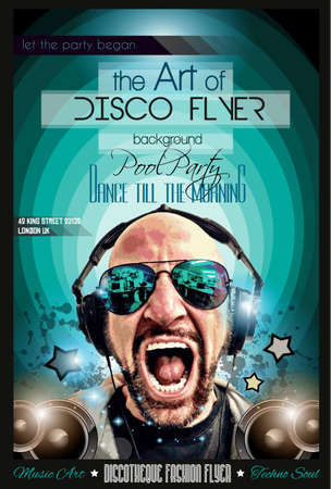 discotheque: Disco Night Club Flyer layout with DJ shape and music themed elements to use for Event Poster, Club advertisement, Night Contest promotions and Invitations.