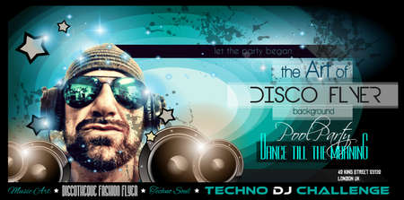 disk jockey: Disco Night Club Flyer layout with DJ shape and music themed elements to use for Event Poster, Club advertisement, Night Contest promotions and Invitations.