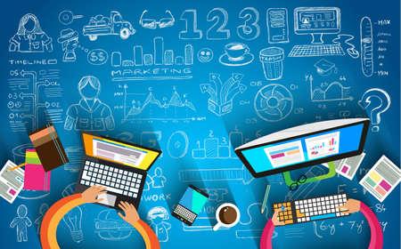 Travail d'équipe graphisme et remue-méninges avec un style plat. Un grand nombre d'éléments de conception sont inclus: ordinateurs, appareils mobiles, les fournitures de bureau, crayon, tasse de café, feuilles, documents, etc.