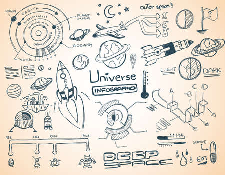 solar system: Universe infographics element collection with hand drawn doodles sketch! Satelllites, Ships and other elements isolated and realdy for you dsign projects.