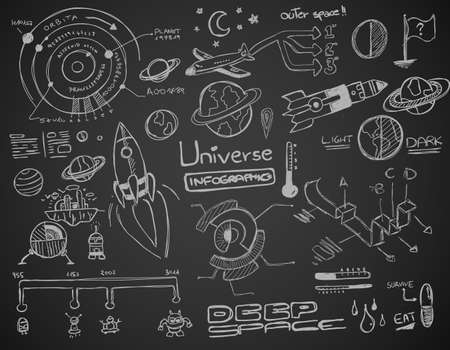 theory: Universe infographics element collection with hand drawn doodles sketch! Satelllites, Ships and other elements isolated and realdy for you dsign projects.