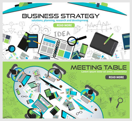 printed material: Flat Style Design Concepts for business strategy, finance, brainstorming, management, human resources, recruitment,meeting table, staff training.Ideal for printed material or web banners.