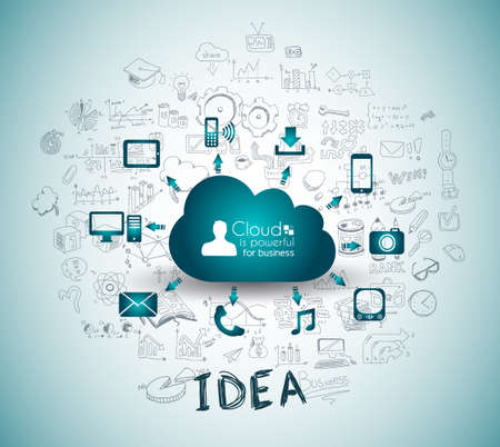 Cloud Computing with Business doodles Sketch background: infographics vector elements isolated, . It include lots of icons included graphs, stats, devices,laptops, clouds, concepts and so on. Vettoriali