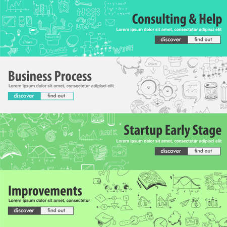 Flat design concepts for startups, consulting,  business, finance, management, team work, analysis, strategy and planning, Ideal to use for printed materials, brochures or banners