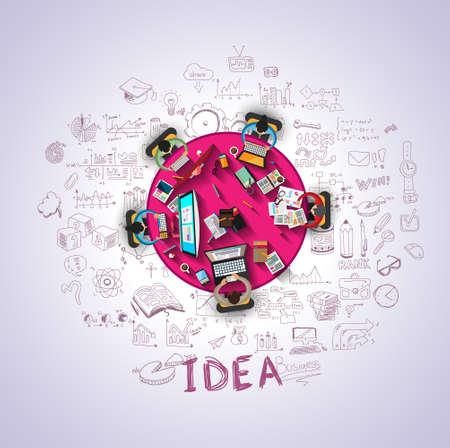 trabajando en computadora: Conceptos planos de dise�o de estilo para la estrategia de negocio y su carrera. Ideal para folletos corporativos, folletos, marketing digital, presentaciones de producto o idea, banderas de la tela y as� sucesivamente.