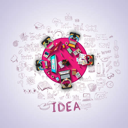 team ideas: Flat Style Design Concepts for business strategy and career. Ideal for corporate brochures, flyers, digital marketing, product or idea presentations, web banners and so on .