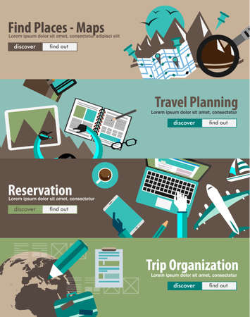 printed material: Flat Design Concept For Travel Organization and Trip Planning, room reservation, maps, find places, adventures. Ideal for printed material, paper guide, instructional brochures or flyers. Illustration