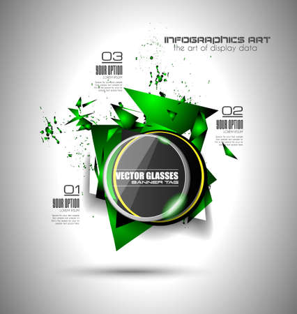 Abstract high tech background with triangula shape explosion effect and a circular glass panel to show your message or title.