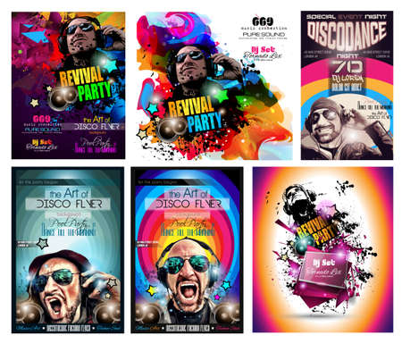 dj: Club Disco Flyer Set with DJ shape and Colorful Scalable backgrounds. A lot of diffente style flyer for your techno, hip hop, electro or metal  music event Posters and advertising printed material.