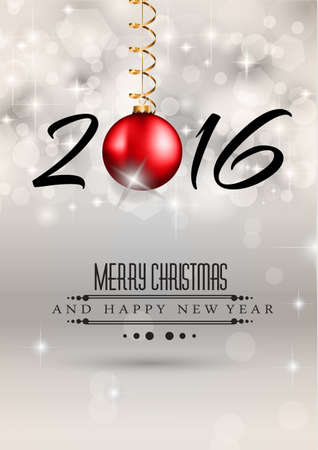 chrstmas: 2016 Merry Chrstmas and Happy New Year Background for your dinner invitations, festive posters, restaurant menu cover, book cover or promotional depliant
