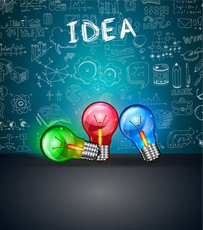 colorful light display: Conceptual LIght Bulb IDEA backgroud with space for text and 3 colorful lamps. Ideal to display new concepts, business proposals, innovation presentations and related posters.