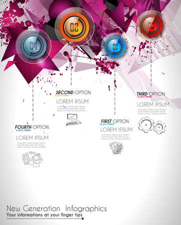 printed material: Infographic Abstract template with 4 choices glass buttons with shiny effect. Ideal for marketing and printed material, product classifications, ranking, business solutions, item list and for ideas proposal.