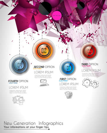 item list: Infographic Abstract template with 4 choices glass buttons with shiny effect. Ideal for marketing and printed material, product classifications, ranking, business solutions, item list and for ideas proposal.