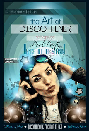 disk jockey: Attractive Club Disco Flyer with a Girl Dj listening to music. Ideal to use as Poster background, Flyer Design, Discotheque Event promotions, Dancing parties and so on. Illustration