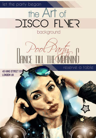 dancing club: Attractive Club Disco Flyer with a Girl Dj listening to music. Ideal to use as Poster background, Flyer Design, Discotheque Event promotions, Dancing parties and so on. Illustration
