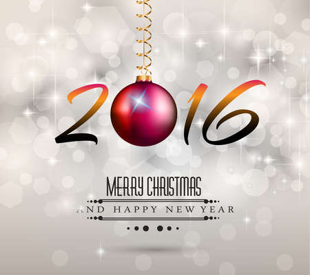 chrstmas: 2016 Merry Chrstmas and Happy New Year Background for your dinner invitations