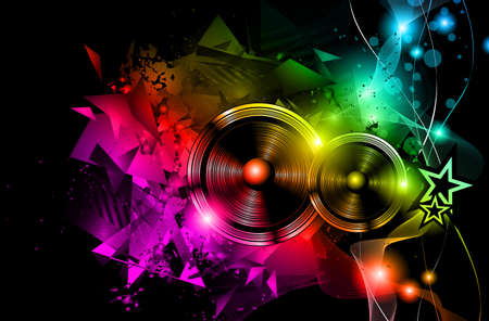dj: Disco Night Club Flyer layout with Speaker shape and music themed elements to use for Event Poster Illustration