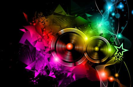 Il layout Disco Night Club Flyer con forma di altoparlante e musica a tema elementi da utilizzare per la locandina dell'evento Archivio Fotografico - 42941122