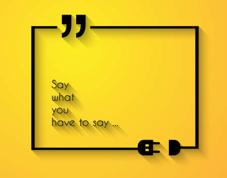 quotation: Quotation Mark Frame with Flat style and space for text.