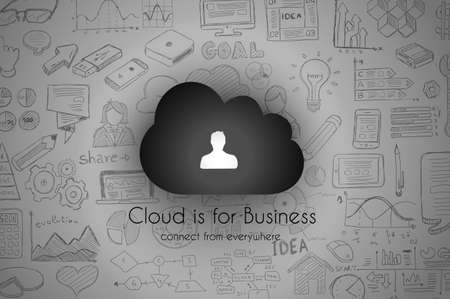 computing: Cloud Computing concept with infographics sketch set: design elements isolated, vector shapes. Illustration