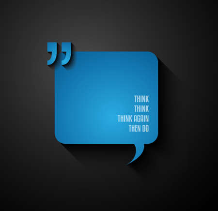feedback label: Quotation Mark Frame with Flat style and space for text.