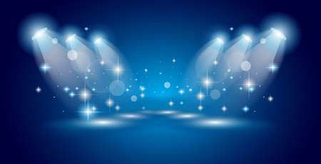 Theatre Show Spotlights with lights ans stars with place for one or more object or generic item to advertise and feature.
