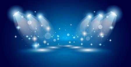 Theatre Show Spotlights met verlichting ans sterren met plaats voor één of meer object of generieke Item aan adverteren en functie. Stockfoto - 42941749