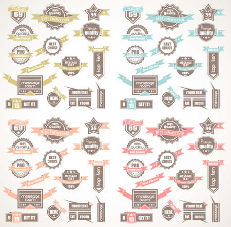 quality icon: Big Collection of Quality Labels with 4 colors version.  Illustration