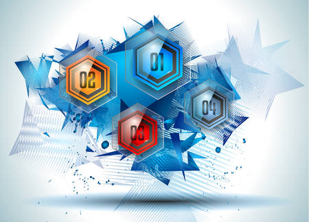 web solution: Infographic Abstract template with multiple choices glass buttons with shiny effect.