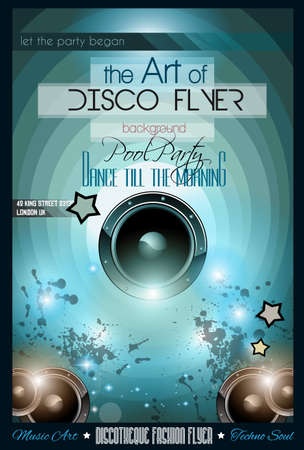 scalable set: Club Disco Flyer Set with DJs and Colorful Scalable backgrounds.
