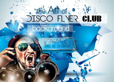 fiestas discoteca: Club de Disco Volante Establecer con DJs y fondos escalables coloridas. Vectores