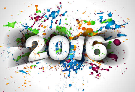 frohes neues jahr: 2016 Frohe Chrstmas und Happy New Year Hintergrund für Ihr Abendessen Einladungen Illustration