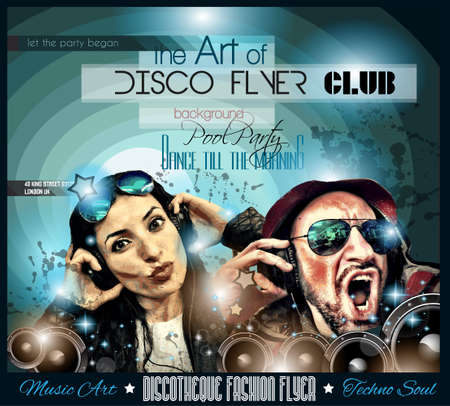 Club Disco Flyer Set with DJs and Colorful Scalable backgrounds.  photo