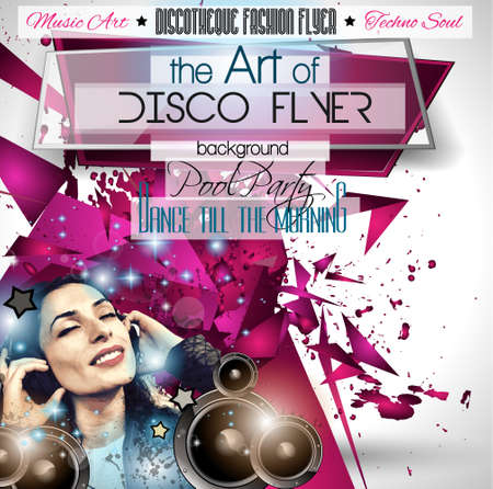 music dj: Club Disco Flyer Set with DJs and Colorful Scalable backgrounds.