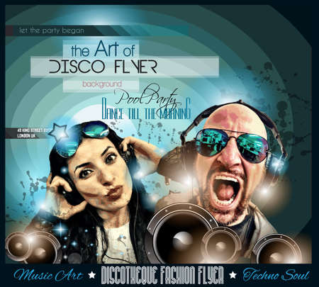 scalable: Club Disco Flyer Set with DJs and Colorful Scalable backgrounds.
