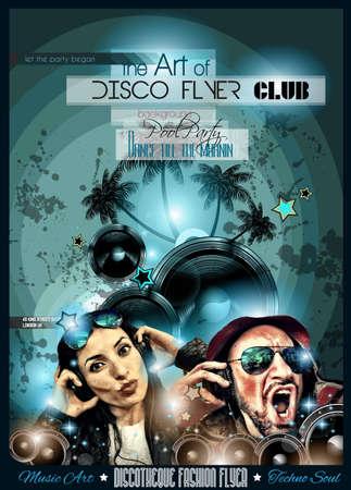 Club de Disco Volante Establecer con DJs y fondos escalables coloridas. Una gran cantidad de volante de estilo diffente para su techno, hip hop, electro o música de metal eventos pósters y material impreso de publicidad. Foto de archivo - 43956378