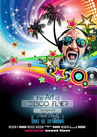 Club de Disco Volante Establecer con DJs y fondos escalables coloridas. Una gran cantidad de volante de estilo diffente para su techno, hip hop, electro o música de metal eventos pósters y material impreso de publicidad. Foto de archivo - 43956367